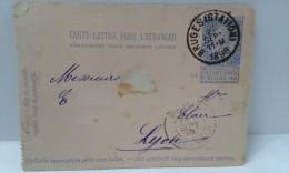 Carte-lettre Leopold II . 02-09-1896. De Bruges Station Vers Lyon ... Lot 285 . - Stamped Stationery