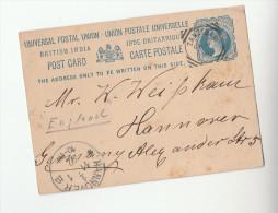 1892  ZANZIBAR India To GERMANY Via ADEN  Postal STATIONERY CARD Cover Stamps - Zanzibar (...-1963)