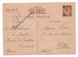 CP - ENTIER POSTAL - IRIS  - PRIX DE VENTE 0.90- DATEE DU 1er JANVIER 1941 - WW II
