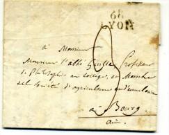 Lettre   Avec  Marque Linéaire LYON  68  + Taxe  3 Pour   Bourg   1828 - Marcophilie (Lettres)
