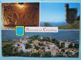 V-08-11-aude--rennes Le Chateau--la Dalle Du Chevalier-la Tour Magdala-vue Generale-blason-- - Otros Municipios