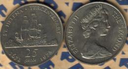 SAINT HELENA ISLAND 25 PENCE SHIP 300 YEARS FRONT QEII HEAD BACK 1973 UNC KM5 READ DESCRIPTION CAREFULLY!! - Sainte-Hélène
