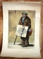 Lithographie De G. TOURNON Peintre Vendeur De Cartes Métiers De Rues Parisiennes Publicité Opochol - Lithographies