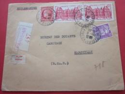 Lettre Affran Composé Au Tarif Recommandé Paris XLVIII De M. Chemla Judaïca Pr Douanes Cabotage Marseille 1948 - Francia
