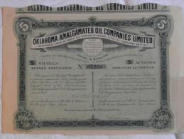 Action Etats Unis 1911 Oklahoma Amalgamated Oil Companies Limited Arizona U.S.A Bearer Certificat Share $5 - Pétrole