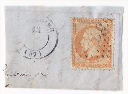 Timbre N°23 Orange Sur Morceau De Lettre - Oblitération Losange GC + CaD - 1849-1876: Classic Period