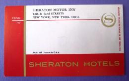 HOTEL MOTEL INN RESIDENCE HOUSE SHERATON MOTOR NEW YORK USA DECAL STICKER LUGGAGE LABEL ETIQUETTE AUFKLEBER - Hotel Labels
