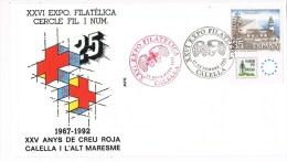 R 962. Carta CALELLA (Barcelona) 1992. 25 Años CRUZ ROJA - 1991-00 Cartas