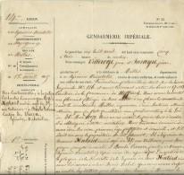 1855 - GENDARMERIE IMPÉRIALE - Contravention Pour Un Chariot Dépourvu D´une Lanterne Allumée - - Documents Historiques
