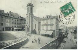 19-TULLE-Une Vue De La Plaçe Saint-Jean Et Son Eglise-Animé - Tulle