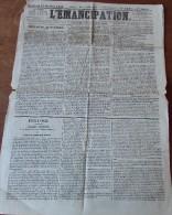 """Octobre 1842 - Quotidien """"L'ÉMANCIPATION"""" Dieu Et La Loi - Réforme Et Progrès - - Documenti Storici"""