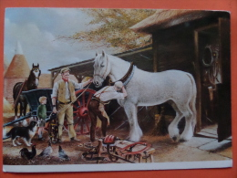 45214 POSTCARD: FARMING IN BYEGONE DAYS By Dudley Pout:  THE FITTING.  SIZE: 17.5 X 12 Cm. - Agriculture