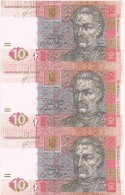 Ukraine 3 X 10 Banknote Hryvnia 2011 Uncut Sheet Trio UNC - Grivna Currency - Ukraine