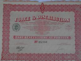 Action 1936  Force & Distribution Societe Anonyme France Paris Part Beneficiaire Au Porteur Emprunt Titre - Shareholdings