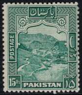 ~~~ Pakistan 1948 Dominion -  Khaiber Pass - 15 Rupees - Perforation K 12  - Mi. 42 A ** MNH  - Cat. 26.00 Euro ~~~ - Pakistan
