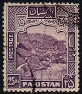 ~~~ Pakistan 1948 Dominion -  Khaiber Pass - 25 Rupees - Perforation K 12  - Mi. 43 C (o) Used - Cat. 50.00 Euro ~~~ - Pakistan