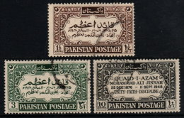 ~~~ Pakistan 1949 Dominion -  Mohammed Ali Jinnah - Mi. 44/46 (o) Used  ~~~ - Pakistan