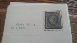 LOT 252556 TIMBRE DE FRANCE OBLITERE N�4 VALEUR 60 EUROS TB