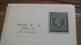 LOT 252572 TIMBRE DE FRANCE OBLITERE N�14 TB