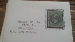 LOT 252576 TIMBRE DE FRANCE OBLITERE N�14 TB
