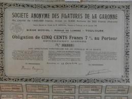 Action 1918  Societe  Anonyme Filatures De La Garonne 500 F 7% Paris Emprunt Titre - Actions & Titres