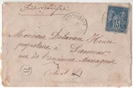 """France - Lettre Enveloppe 1880? MENTION MANUSCRITE """" POIDS VERIFIE """" Cad Montsoreau Maine-et-Loire Boite Rurale Facteur - Postmark Collection (Covers)"""