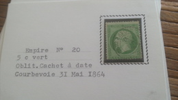 LOT 252621 TIMBRE DE FRANCE OBLITERE N�20 TB