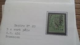 LOT 252627 TIMBRE DE FRANCE OBLITERE N�20 TB