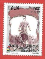 ITALIA REPUBBLICA MNH - 2000 - Centenario Dell'unione Ciclistica Internazionale - £ 1500 € 0,77 - S. 2474 - 6. 1946-.. Repubblica