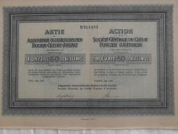 Action 1927 Societe Generale Credit Foncier D´Autriche 50 Schillings Titre Au Porteur - Non Classificati