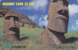 Carte Japon - Archéologie - Site CHILI STATUES MOAI ILE DE PAQUES - Archeology EASTER ISLAND CHILE Rel Card 76 - Landscapes
