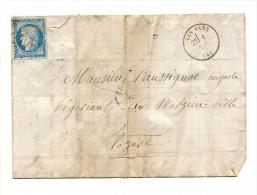 LETTRE ANCIENNE LES VANS 1872 -OBL. GC 4096 ? -TIMBRE 25 C. BLEU -MALZIEU VILLE-VILLEFORT- - Marcophilie (Lettres)
