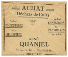 1/2. Enveloppe Chèques Postaus Belge. Bruxelles 9.8.32. Thèmes: Cuirs/chaussures/Pantoufles - Factories & Industries