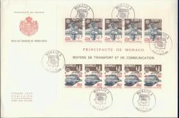 ECF1-124 MONACO 1988 FDC PHILEX KLB, FEUILLET 1859-1860 TRANSPORT AND COMMUNICATION, EUROPE CEPT. - 1988