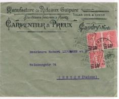 1/2. Daguin: Caudry/le Tulle/la Dentelle/la Broderie/les Rideaux. =idem àl´ En-tête De Lettre. 3 Semeuses 11.10.27. - Textile