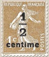 Type Semeuse Fond Plein, Inscriptions Grasses. 1/2 C. Sur 1c. Bistre-olive Y279A - Frankreich