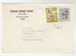 CZECHOSLOVAKIA COVER Stamps ORCHID Flower BIRD  To Germany Flowers Orchids Birds - Czechoslovakia
