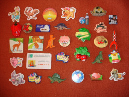 Lot De 58 Magnets: Petits Filous, Thonon, Ipsos, Fluogum, Lindt, Contrex, SOS Villages D´ Enfants, Charal, Vichy, Tintin - Non Classés