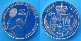 NIUE 50 $ 1987 ARGENTO PROOF SILVER TENNIS WIMBLEDON BORIS BECKER PESO 27,1g TITOLO 0,625 CONSERVAZIONE FONDO SPECCHIO - Niue