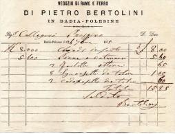 1875 NEGOZIO DI RAME E FERRO IN BADIA POLESINE - Italia
