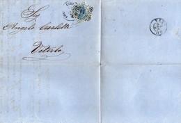 1868 LETTERA CON ANNULLO LIVORNO  + VITERBO - 1861-78 Vittorio Emanuele II