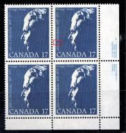 1980  John G. Diefenbaker  LR Plate Block  Sc 859  With «Dot Over G» Flaw - 1952-.... Règne D'Elizabeth II