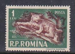 Romania 1956 Animals, 1l Lynx, Mint Hinged - 1948-.... Republics