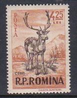 Romania 1956 Animals, 4,25 Fallow Deer, Mint Hinged - 1948-.... Republics
