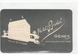 VP - B1361 - Italie - Gênes -  Carte De Visite Gaufrée Hôtel Bristol  ( 2 Scans) - Visitenkarten