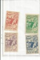 CHALON SUR SAONE 4   VIGNETTE 1914  CARNAVAL 22 AU 24 FEVRIER 1914  . 4 COULEURS - Chalon Sur Saone