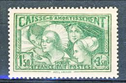 Francia 1931 Caisse D'Am. Y&T N. 269, Fr. 1,50 + Fr 3,50 Verde Giallo MNH - Sinking Fund