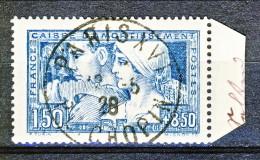 Francia 1928 Caisse D'Am. Y&T N. 252, Fr. 1,50 + Fr 8,50 Blu I° Tipo Usato Bordo Di Foglio - Sinking Fund