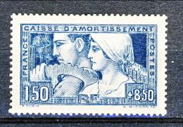 Francia 1928 Caisse D'Am. Y&T N. 252B, Fr. 1,50 + Fr 8,50 Blu II° Tipo MNH Molto Ben Centrato - Sinking Fund