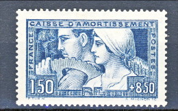 Francia 1928 Caisse D'Am. Y&T N. 252, Fr. 1,50 + Fr 8,50 Blu III° Tipo MLH Molto Ben Centrato - Sinking Fund